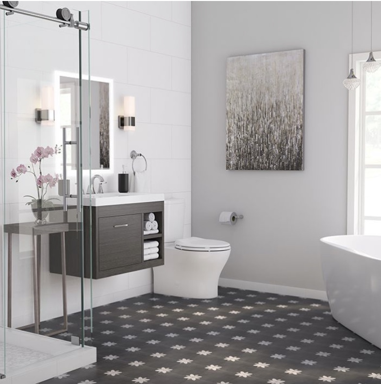 Modern bathroom with pattern mosaic